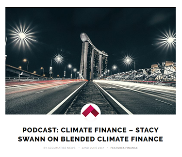 a podcast: Stacy Swann on Blended Climate Finance
