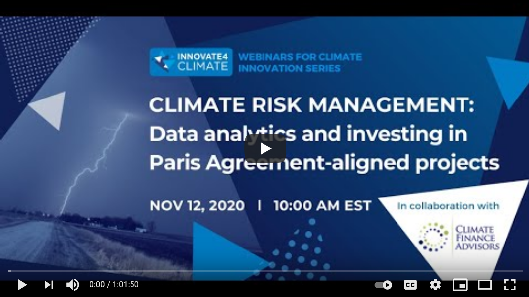 Climate Risk Management Data analytics and investing in Paris Agreement-aligned projects