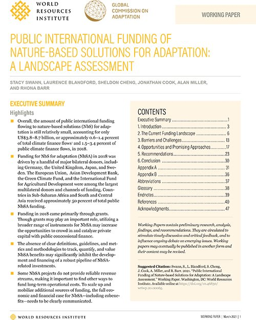 PUBLIC INTERNATIONAL FUNDING OF NATURE-BASED SOLUTIONS FOR ADAPTATION: A LANDSCAPE ASSESSMENT